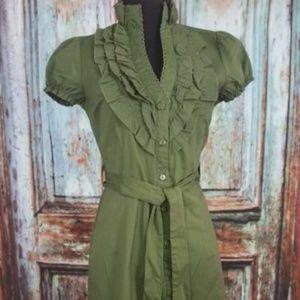 Dresses & Skirts - Green Dress Ruffled Button down skater dress Sz S
